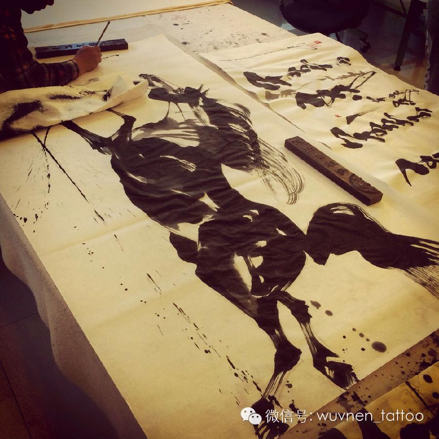 著名蒙古国书法家&画家Sukhbaatar为無南刺青创作并赠送珍贵书画作品 第5张 著名蒙古国书法家&画家Sukhbaatar为無南刺青创作并赠送珍贵书画作品 蒙古书法