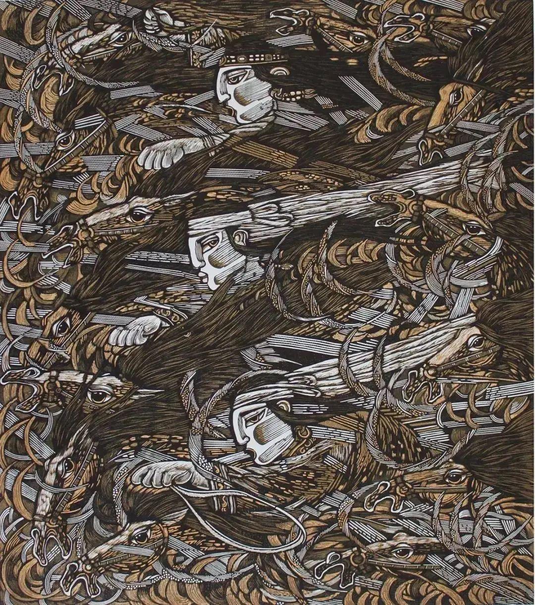 微展览丨哲里木版画:一把刻刀写给木板的传奇 第17张 微展览丨哲里木版画:一把刻刀写给木板的传奇 蒙古画廊