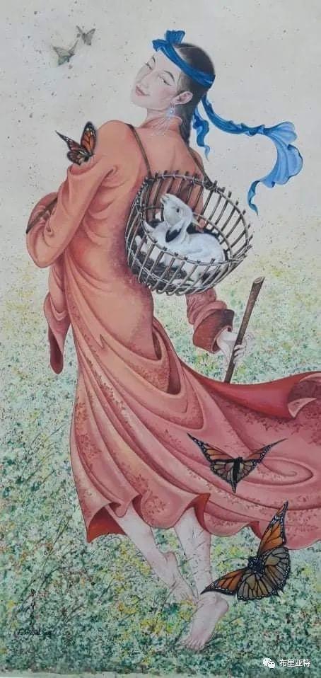蒙古国女画家甘其其格将蒙古女性的柔美展现得淋漓尽致